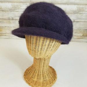 Cheveux Accessories - Cheveux Dark Purple Newsboy Angora Blend Cap Hat